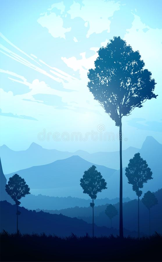 Nature forest Natural Pine forest mountains horizon Landscape wallpaper Sunrise and sunset Illustration vector style Background stock illustration