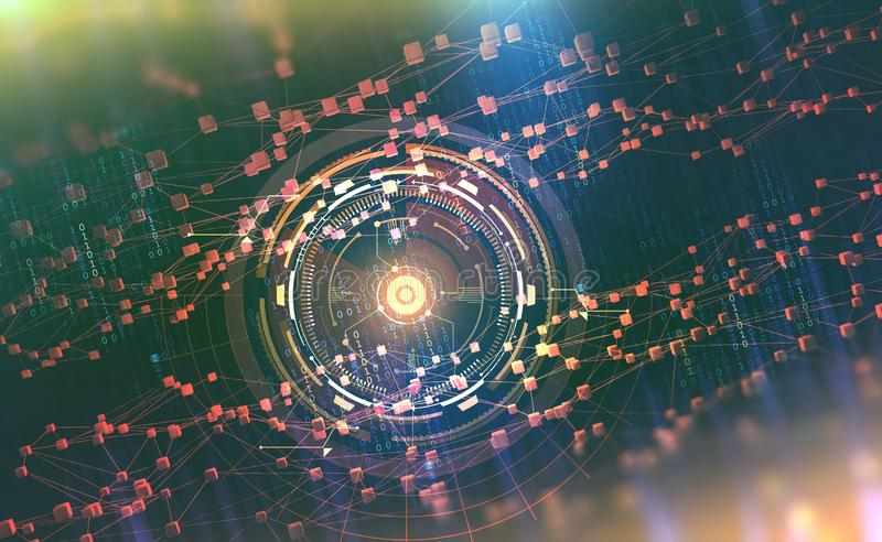 AI. Neural networks and artificial intelligence. Concept of cyberspace. Abstract technological background stock illustration