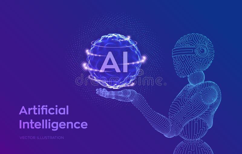 ai o Робот Wireframe AI в робототехнической руке Концепция доминирования разума машинного обучения и кибер Технология иллюстрация вектора