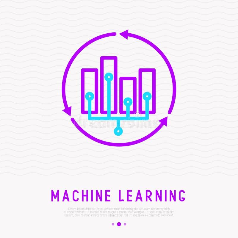 AI o aprendizaje de máquina por datos grandes del análisis stock de ilustración