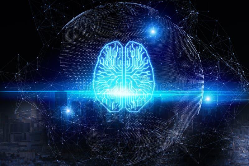 AI och framtida begrepp stock illustrationer