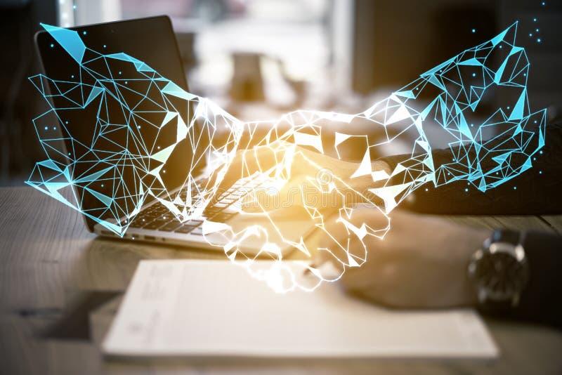 AI och online-avtalsbegrepp royaltyfri bild