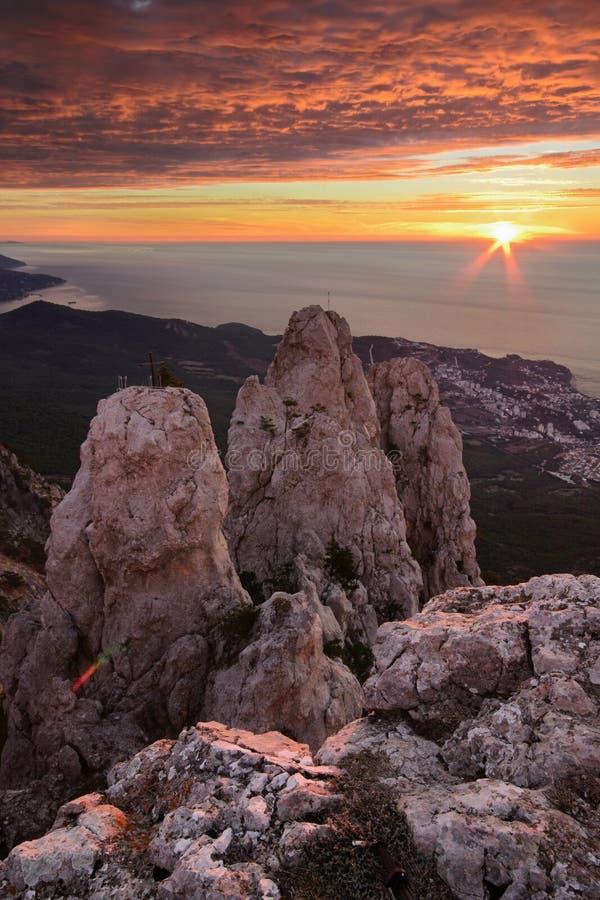 Ai-Petri at dawn. The magnificent view from Ai-Petri mountain, Crimea stock images