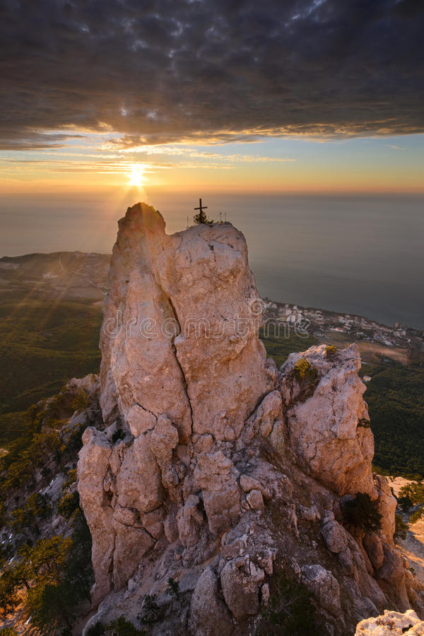 Ai-Petri in sunlight. The magnificent view from Ai-Petri mountain, Crimea royalty free stock photography