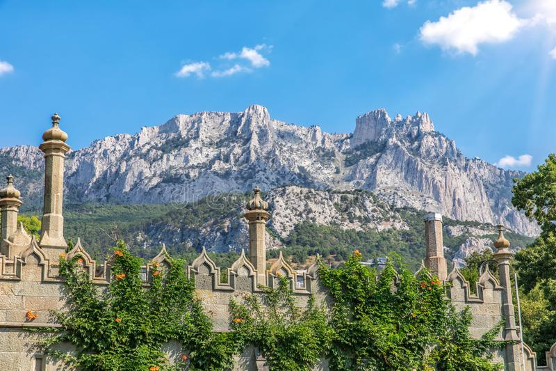 Ai-Petri view and the Vorontsov Palace towers, Crimea.  royalty free stock images
