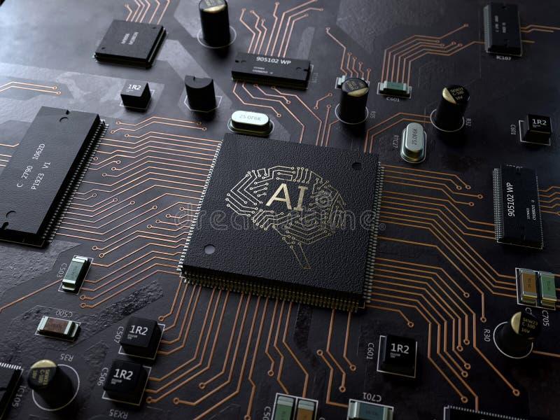 AI, placa de circuito da inteligência artificial fotos de stock