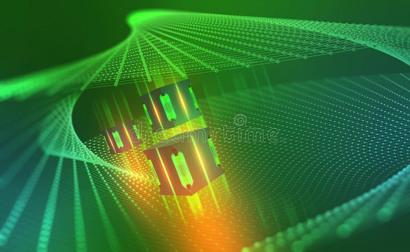 AI. Quantum computer architecture. Cyberspace abstract concept. Blockchain network vector illustration
