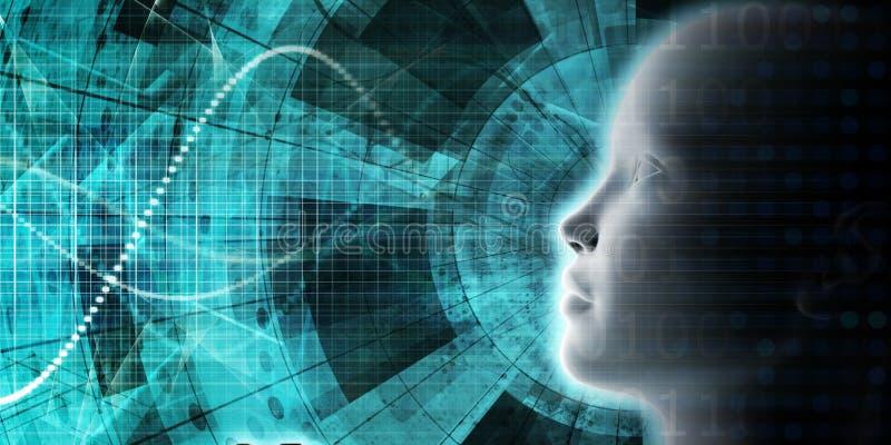 AI que procesa el aprendizaje profundo de la educación stock de ilustración