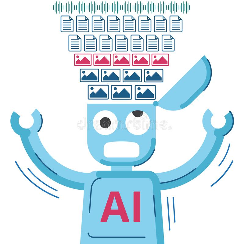 AI robot is educated and getting data. vector illustration