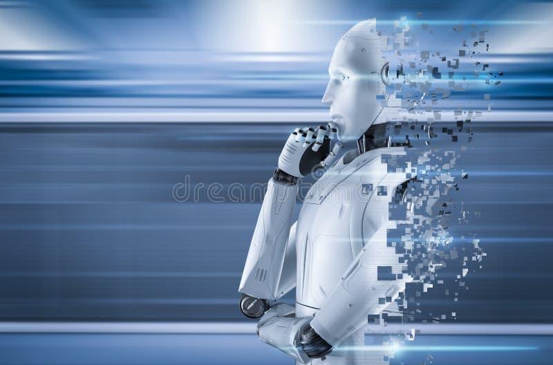 Ai robot explosion royalty free stock image