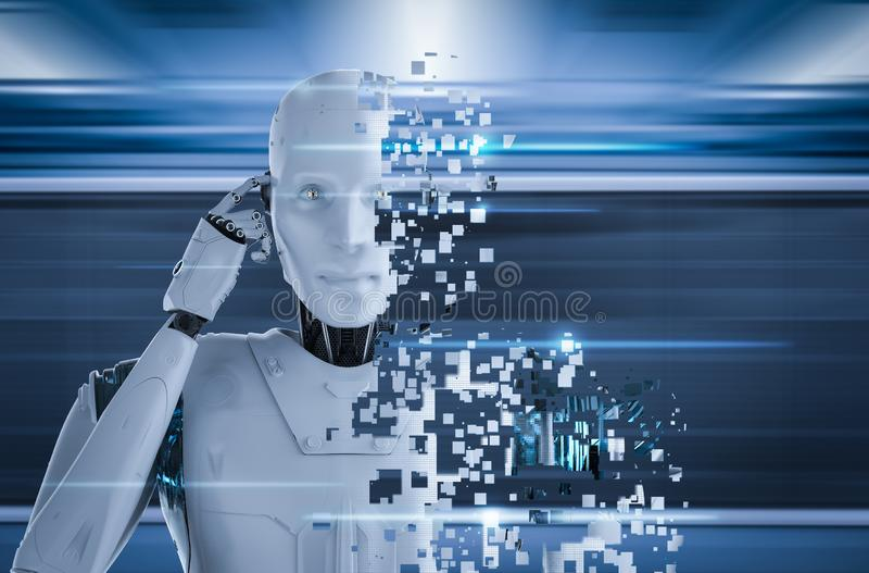 Ai robot explosion. 3d rendering ai robot explosion with pixelated effect royalty free illustration