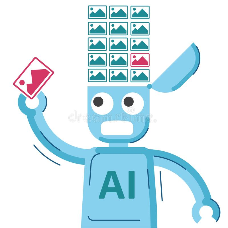 AI robot jest kształcący i dostawać wizerunek ilustracja wektor