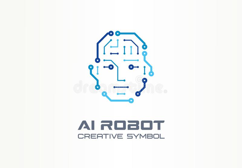 AI robot technology creative symbol machine concept. Digital bionic cyborg face abstract business future logo. Smart stock illustration