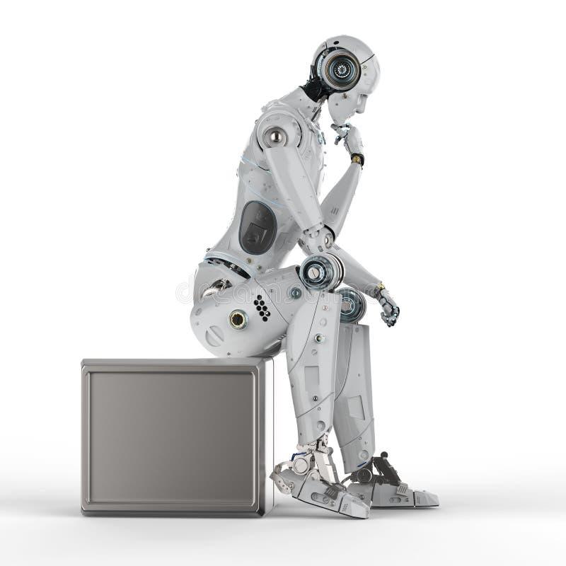 Ai robot thinking royalty free illustration