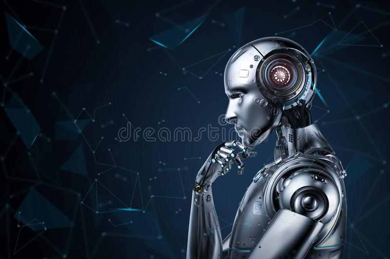 Ai robot thinking royalty free illustration