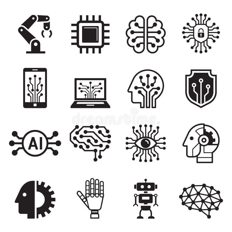 Ai robota sztucznej inteligencji ikony r?wnie? zwr?ci? corel ilustracji wektora royalty ilustracja