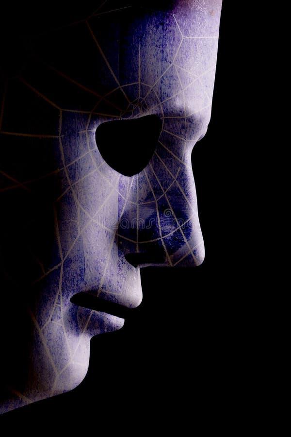 AI robotachtige profiel dichte omhooggaand met gezicht met zwemvliezen stock foto's