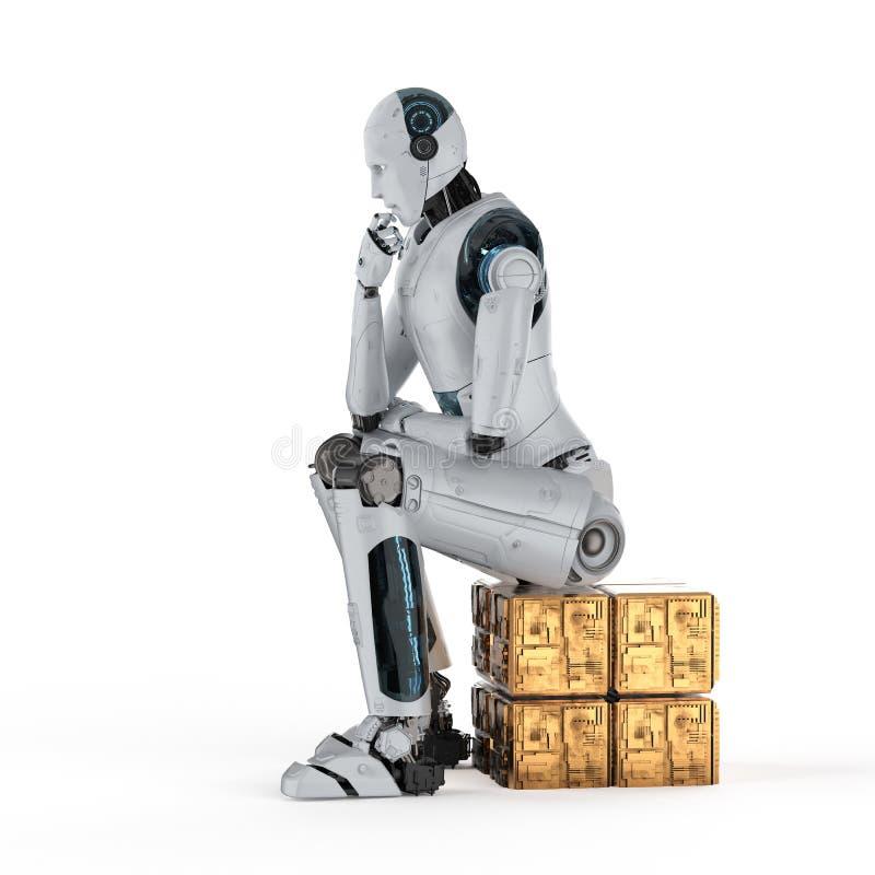 Ai-roboten tänker eller beräknar arkivbild
