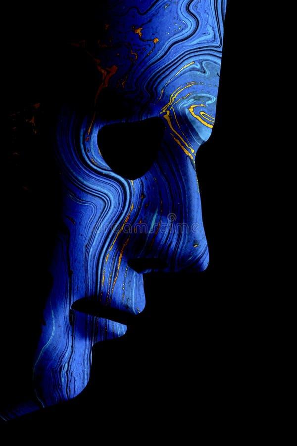 AI robotic face profile close up blue contour stock illustration