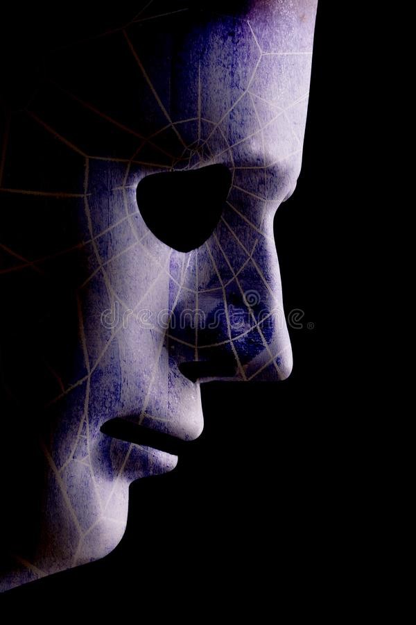 AI robotic profile close up with webbed face stock photos