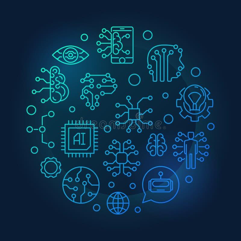 AI ronde overzichts blauwe illustratie op donkere achtergrond royalty-vrije illustratie