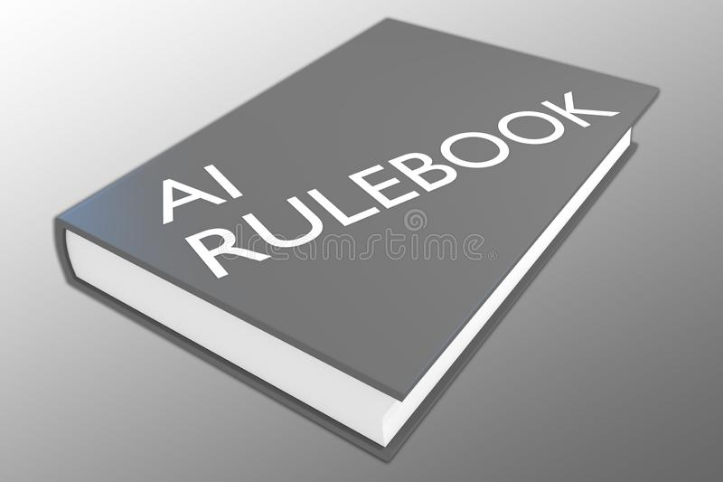 AI Rulebook concept. 3D illustration of AI Rulebook script on a book, isolated on gray gradient, artificial, intelligence, attorney, better, bin, control, cyborg stock illustration