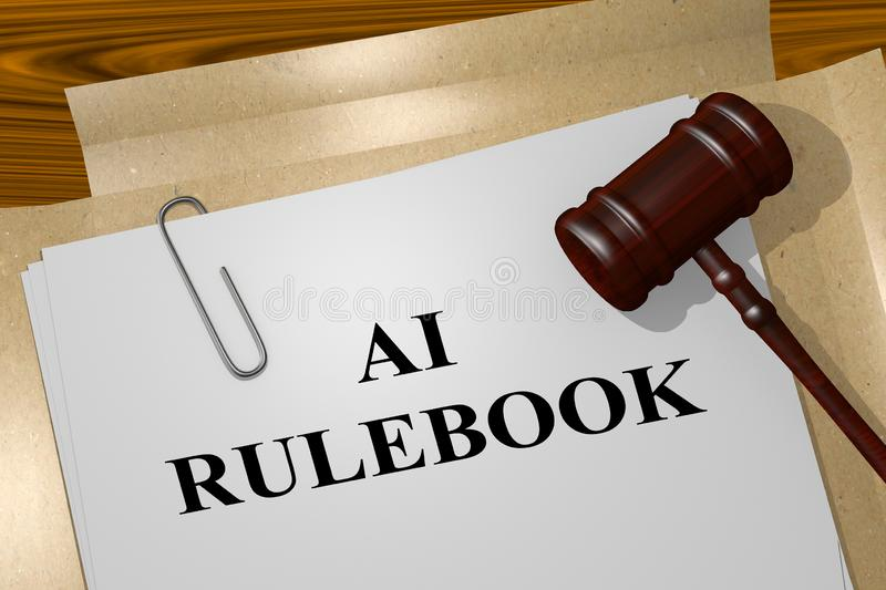 AI RULEBOOK concept. 3D illustration of AI RULEBOOK title on legal document, artificial, intelligence, attorney, better, bin, control, cyborg, engineer, factory vector illustration