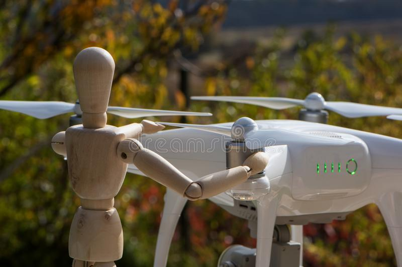 The AI serviceman doll is working on his drone 9 stock image