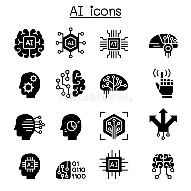 AI symbolsuppsättning för konstgjord intelligens royaltyfri illustrationer
