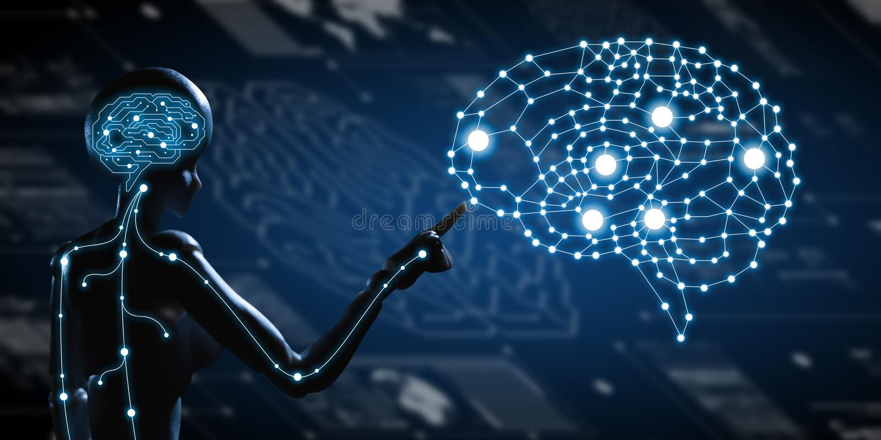 AI, Sztuczna inteligencja konceptualna kolejnego pokolenia techno ilustracji