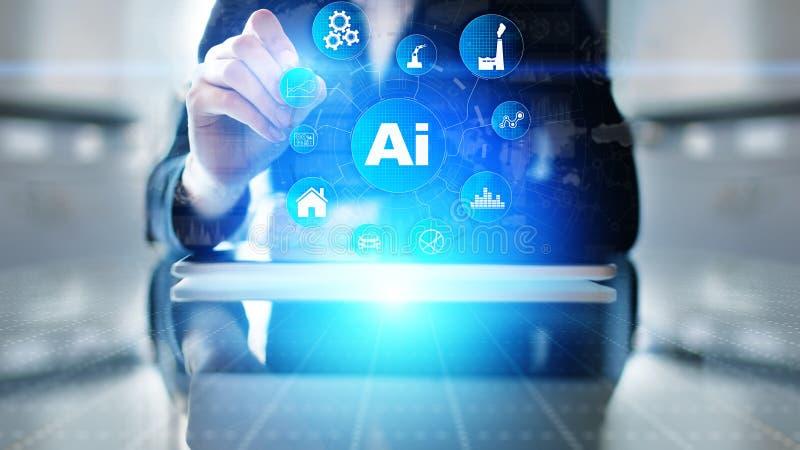 AI Sztuczna inteligencja, Maszynowy uczenie, Duża dane analiza i automatyzacji technologia w przemysłowej produkcji, obrazy stock