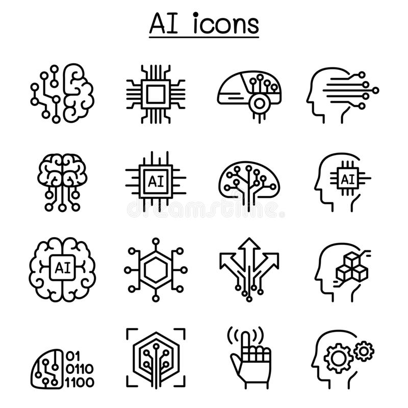 AI, Sztucznej inteligenci ikona ustawiająca w cienkim kreskowym stylu royalty ilustracja