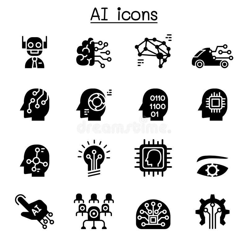 AI, Sztucznej inteligencji ikony set ilustracja wektor