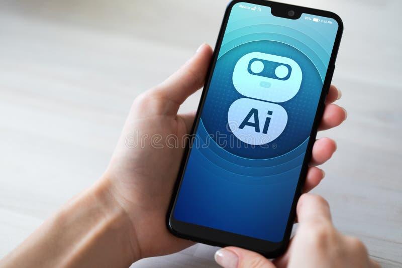 AI Sztucznej inteligencji maszynowego uczenie Głęboki pojęcie Robot ikona na telefonu komórkowego ekranie obrazy royalty free