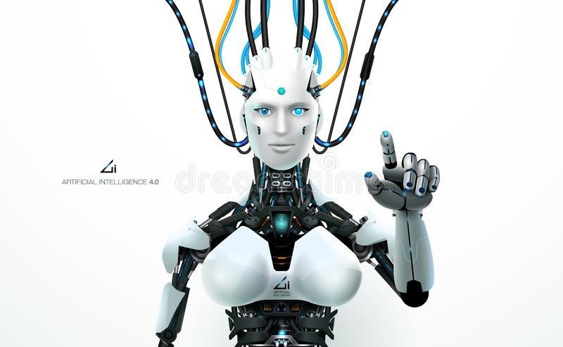 Ai technology robot resource. Robot artificial intelligence technology smart lerning hologram interface monitor by ai technology industrial 4.0 control stock illustration