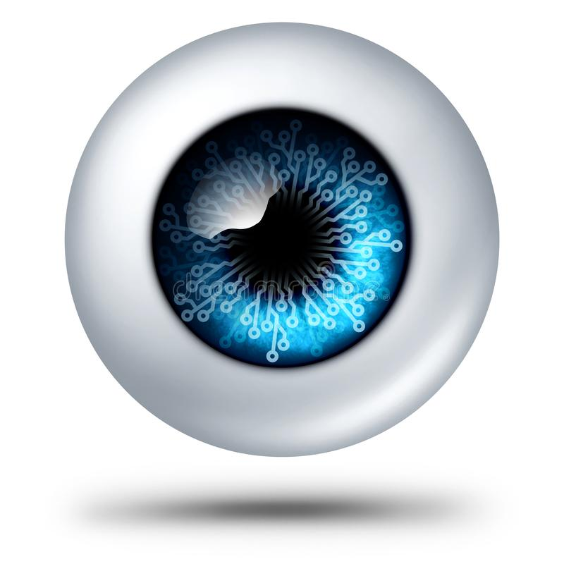 AI Technology Symbol. AI artificial intelligence technology symbol biometric security scanning concept as personal data tech as a human eye with electronic stock illustration