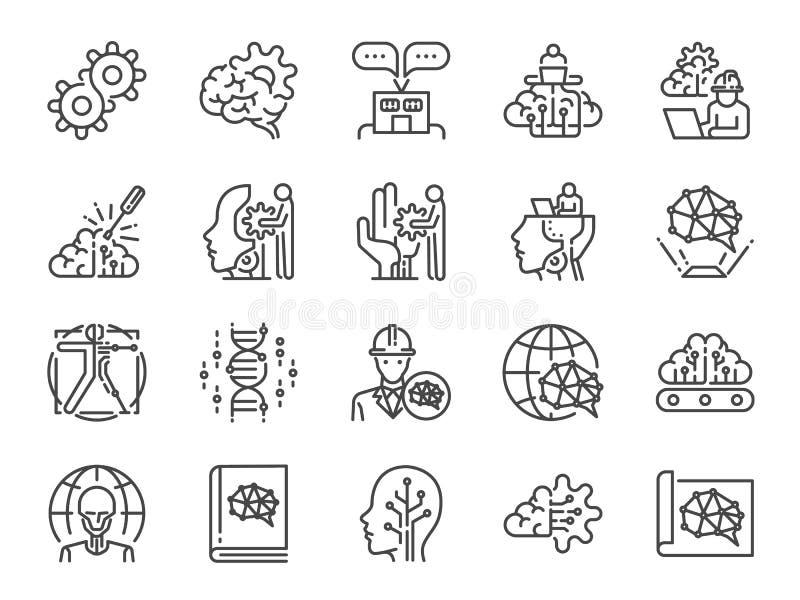 Ai-teknikerlinje symbolsuppsättning Bland annat symboler som konstgjord intelligens, robotteknik, att lära för maskin, roboten, a royaltyfri illustrationer