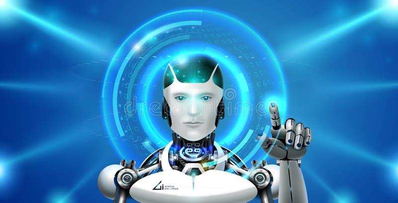 Ai-teknologirobot vektor illustrationer