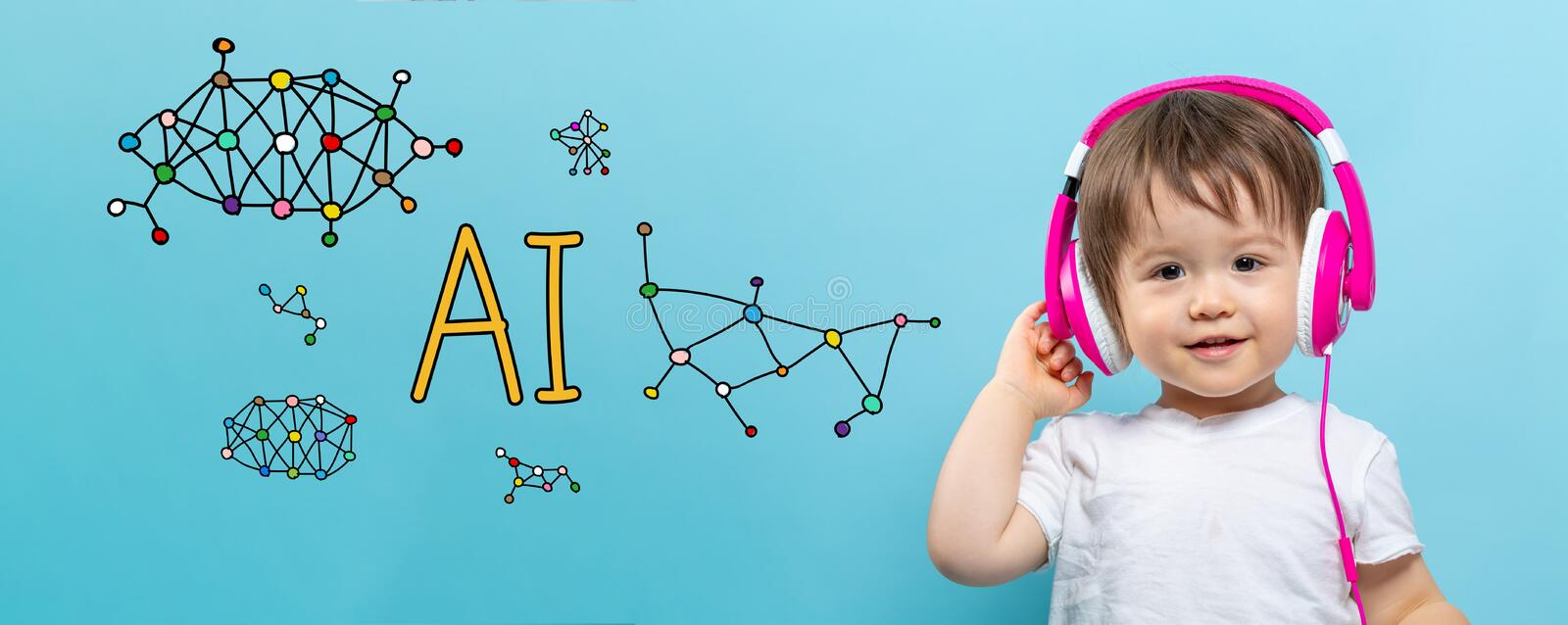 AI theme with toddler boy with headphones. On a blue background royalty free stock photo