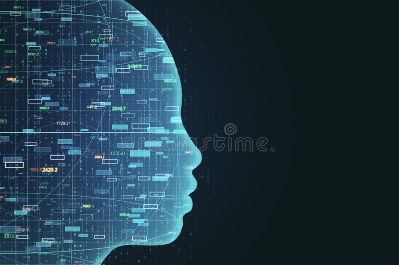 AI and trade concept. Side view of glowing head outline with forex chart on black background. AI and trade concept. 3D Rendering vector illustration