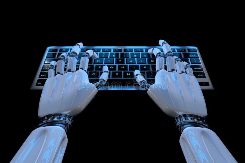 Ai uczenie poj?cia robot wr?cza pisa? na maszynie na klawiaturze, klawiatura Mechaniczny r?ka cyborg u?ywa komputer 3D odp?acaj?  ilustracja wektor