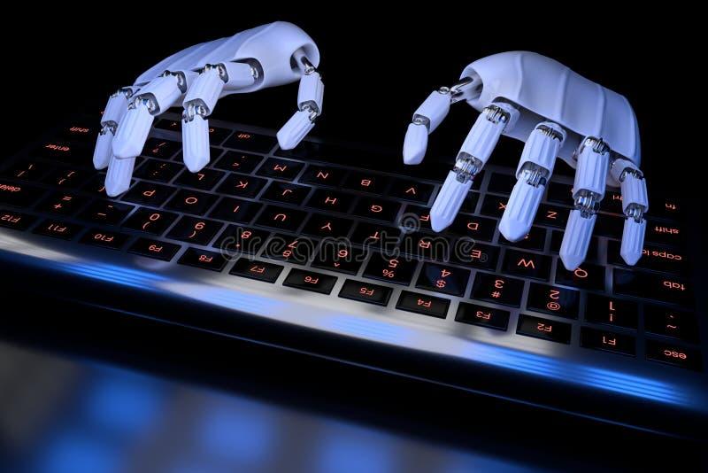 Ai uczenie poj?cia robot wr?cza pisa? na maszynie na klawiaturze, klawiatura Mechaniczny r?ka cyborg u?ywa komputer 3D odp?acaj?  royalty ilustracja