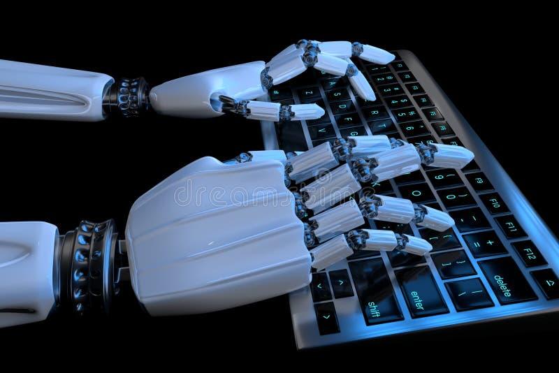 Ai uczenie poj?cia robot wr?cza pisa? na maszynie na klawiaturze, klawiatura Mechaniczny r?ka cyborg u?ywa komputer 3D odp?acaj?  ilustracji