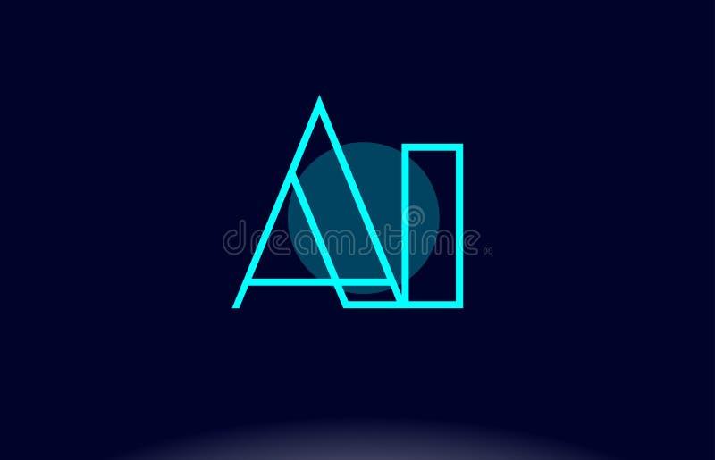 ai una línea azul vecto de i de la plantilla del icono del logotipo de la letra del alfabeto del círculo ilustración del vector