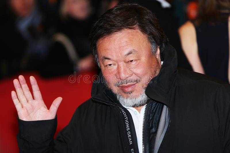 Ai Weiwei poses on the red carpet stock images