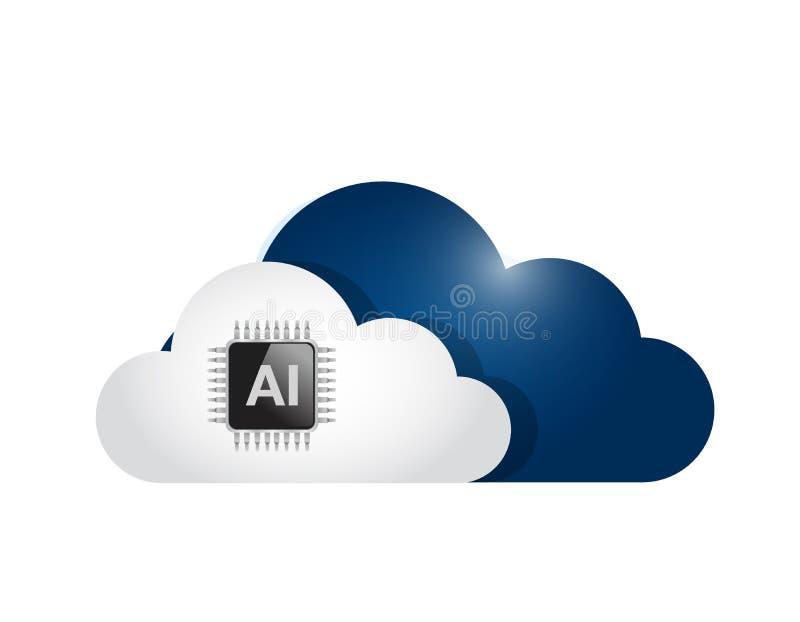 ai wolk grafische het ontwerp van de gegevensverwerkingsillustratie vector illustratie