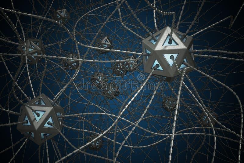AI y concepto nano de la tecnología 3D rindió el ejemplo de la red neuronal artificial ilustración del vector
