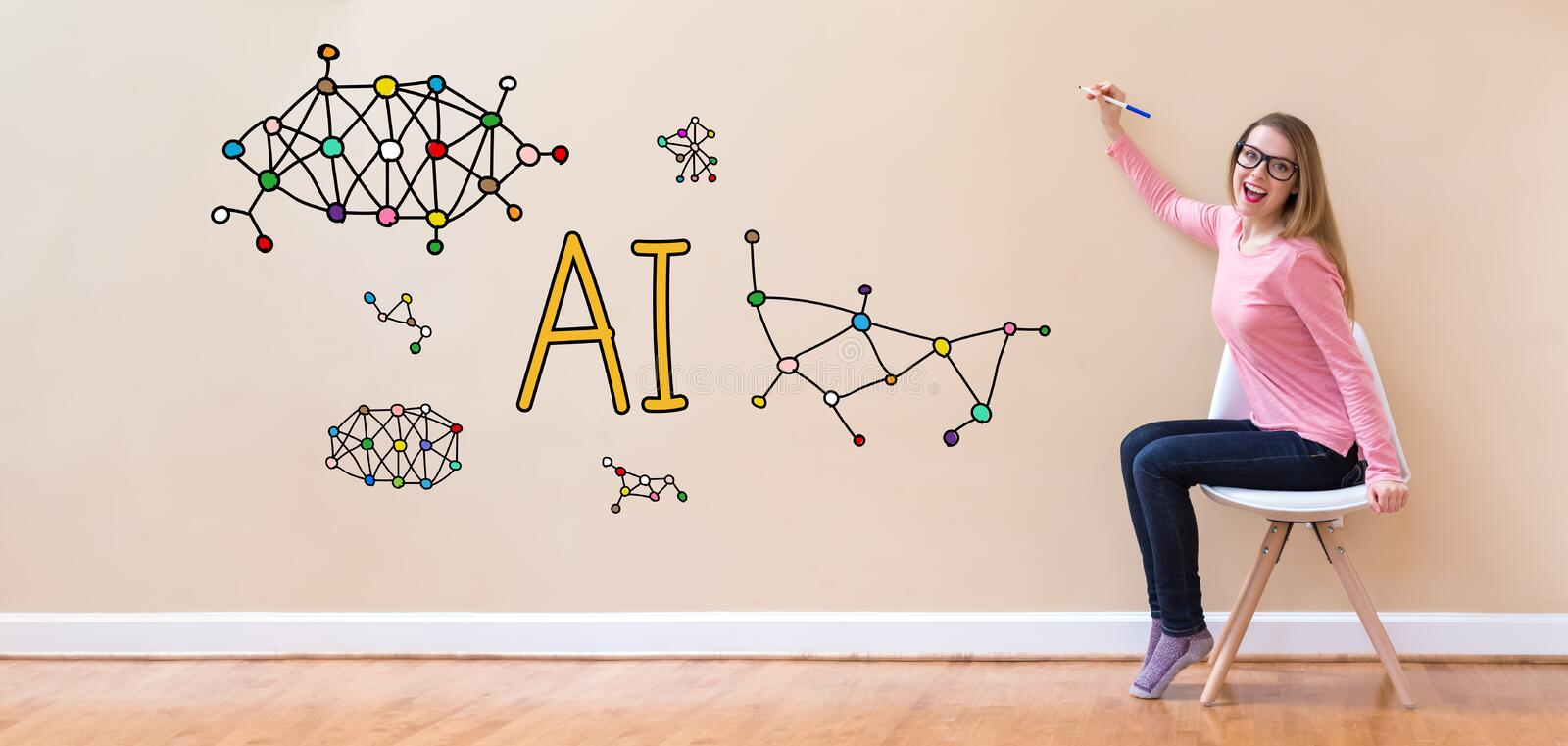 AI with young woman holding a pen royalty free stock photography