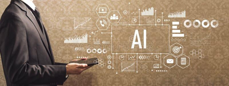 AI z biznesmenem trzyma pastylkę komputerowa zdjęcie royalty free