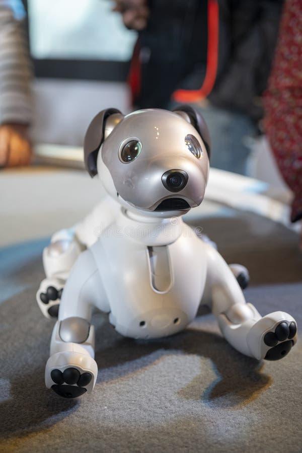 AIBO-Roboter auf Anzeige bei Sony Expo 2019 stockbild